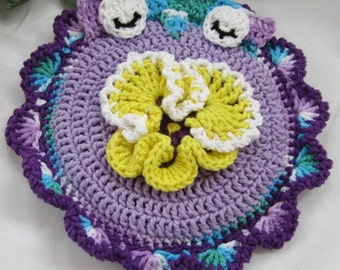 Crocheted Hot Mat Trivet Pot Holder Lavender with Purple, Blue Trim Double Thickness Pansy Center