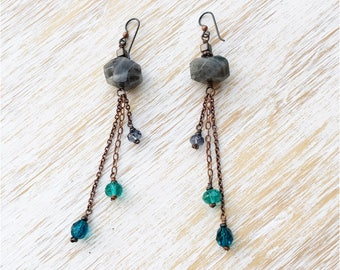 Labradorite Earrings, Fringe Earrings, Boho Jewelry, Long Earrings, Dangle Earrings, Hypoallergenic Niobium Earrings, Labradorite Jewelry