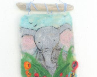 Elephant Felted painting.