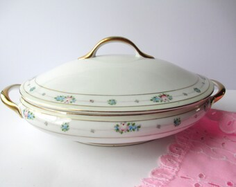 Vintage Covered Dish Meito Hand Painted Pink Blue Rose