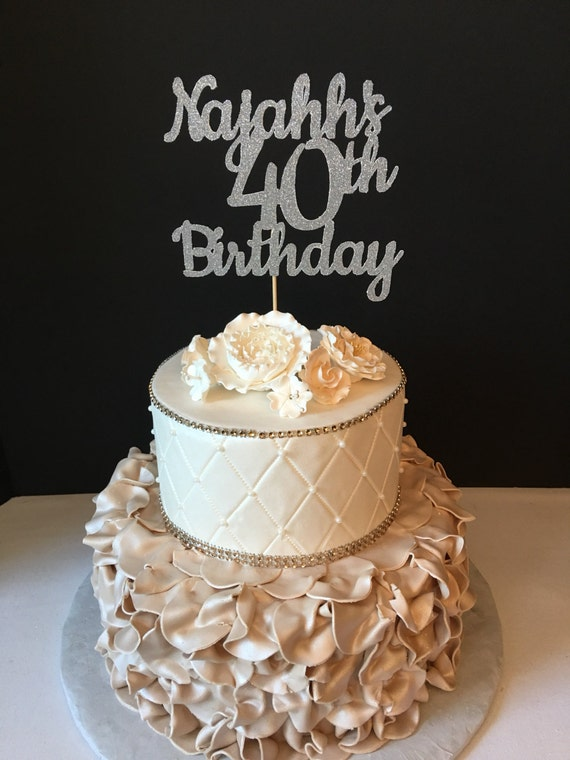 ANY NAME NUMBER Gold Glitter 50th Birthday Cake Topper 50