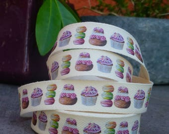 Religious Ribbon, cupcake and macarons Twill 20 mm