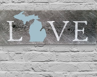"Hand Painted Barn Wood ""Love Michigan"" Sign"
