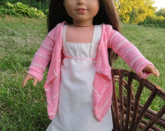Pink Cascade Kimono/cardigan, Made to fit 18 inch American Girl Dolls