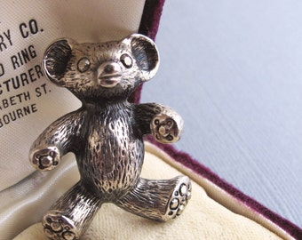 Collectable Bear Brooch, Silvery Bear Pin, Animal Jewelry, Woodland Creature
