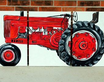 "BIG tractor original painting. 54""x24"".  no. 7. triptych art. tractor. green, yellow, red, blue, custom colors. made to order."