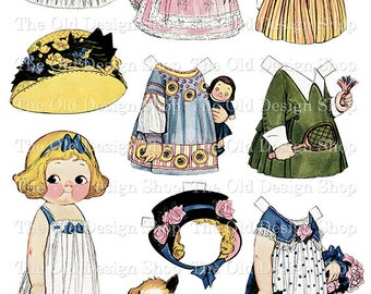 Dolly Dingle Flowergirl Vintage Paperdoll Printable Digital Collage Sheet