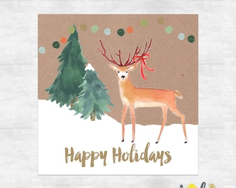 Happy Holidays Greeting cards / Rustic Christmas cards  / Woodland Christmas / Holiday card set / printed cards