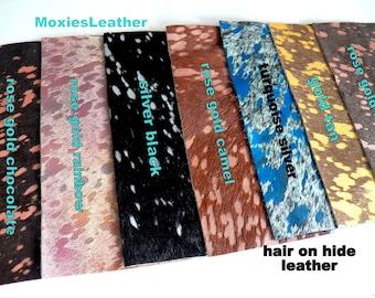 Hair on leather pieces- acid wash hair on hide print leather - and rose gold leather - leather hide with hair on -