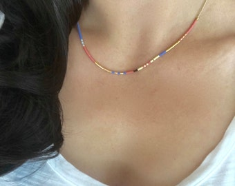 Colorful Gold Beaded Necklace, Thin Multicolor Necklace, Minimalist Necklace, Pink and Blue Necklace, Boho Necklace, Boho Chic Necklace