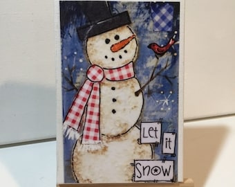 FIVE YEAR SALE Let it Snow Snowman Print and Easel Set