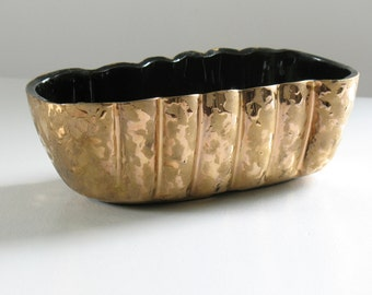 Mid Century Weeping Gold Ceramic Planter / Ungemach UPCO / hollywood regency home decor / glam storage organization container