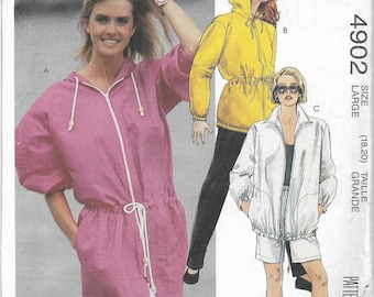 McCalls 4902 sewing pattern, Misses size Large, 18-20, unlined jacket, and pants or shorts, uncut