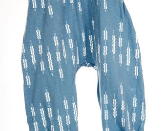 Soft blue and grey arrow print Baby Harem Pants/Leggings Jersey material all sizes
