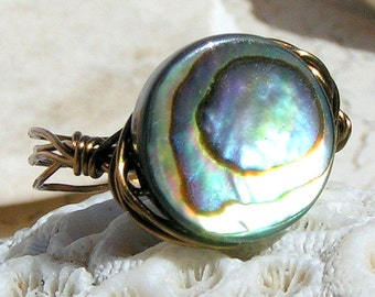 Antique Bronze Ring Abalone, Wire Wrapped Rings, Solitaire Ring, Jewelry