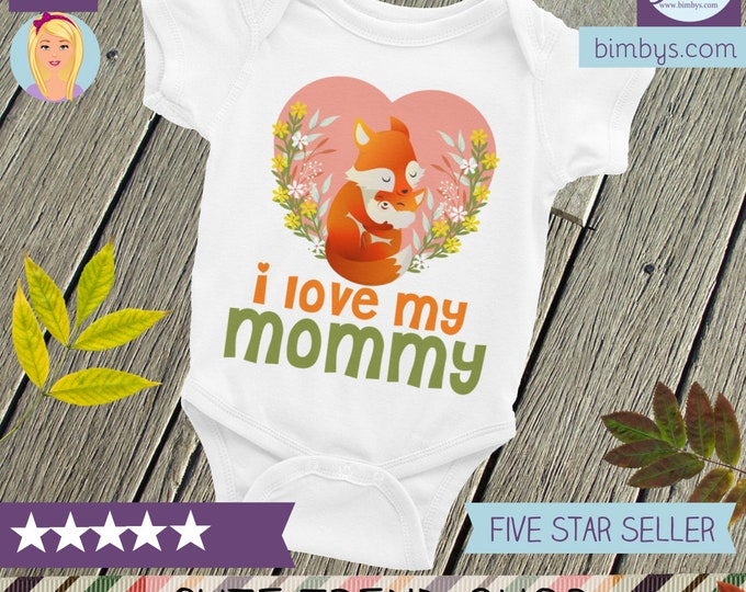 Woodland Hipster Fox ONESIE® , I love my Mommy baby onesie, I love my mom, Mothers day gift, Mommy, I love mom, Mom onesie, I love mommy