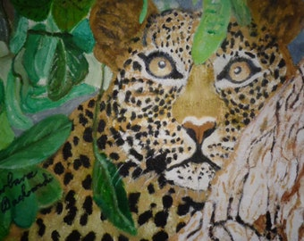 Leopard  with beautiful spotted coat in Wild Jungle   large oil