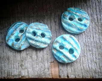 Set of Four Handmade Ceramic Buttons in Blue/Green with Gold Lustre Accents