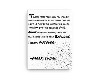 Mark Twain Quote Canvas Art | Explore, Dream, Discover Quote | Canvas Artwork | Mark Twain Motivational Quote | Motivation | Entrepreneur