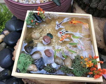 Resin Koi Pond, Hand Painted Koi Fish, Wooden Base, Found Natural Objects