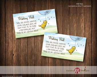 Classic Winnie the Pooh Baby Shower Wishing Well Insert Card