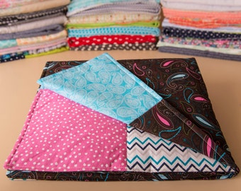 Pink and Blue Girl's Baby Quilt--Paisley design--Navy and turquoise chevron--Hot pink, polka dots, Girls baby bedding, modern baby quilt.