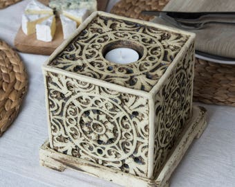 Square Lantern With a Container for Essential Oils, Aromatherapy, Unique Home Decor