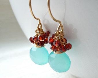 Chalcedony and Garnet Earrings, Gemstone Cluster Earrings, Gold Earrings, Dangle Earrings, Boho Jewelry, Gift for Her