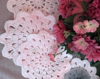 Coasters, Crochet coasters, Set of 4 Coasters, Pink