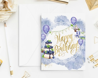 Birthday Card Watercolor Happy Birthday Greeting Card Handpainted Wall Art Print Home Decor Cake Gift for Baby Gift for Boy Blue Bluebrry