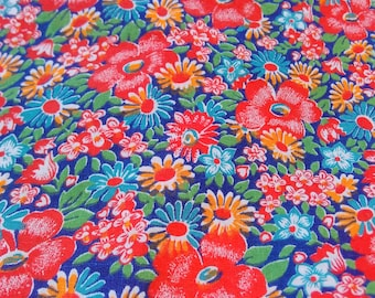Calico cut. Vintage cotton fabric. Unused. For summer dress, gown, apron, pillowcase, skirt. 3 yards by 34 in. Background color is  blue