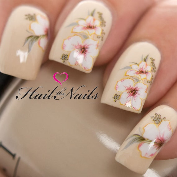 White Lily Nail Art Wraps Water TransfersNails Decals Y829