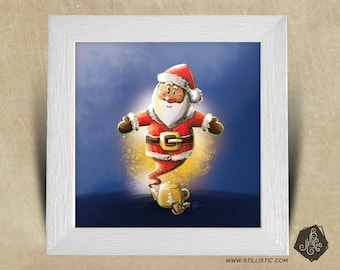 Frame square 25 x 25 Christmas gift with genius Santa Illustration and magic teapot kids baby room