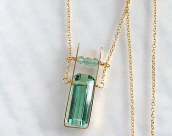 Paraiba Tourmaline Necklace, Green Tourmaline Necklace - Gold Filled, As Seen at the 2018 GBK PreOscars Gift Lounge