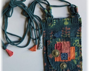 Handmade Primitive OOAK Boro Inspired Vintage Indian Kantha Quilt Pouch, Bag, Cell Pouch... Indigo, Hand Dyed Fabrics, Tribal Medallions,