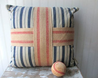 Ticking  cross pillow vintage navy blue off white ticking stripe pillow with burlap jute grainsack red cross Farmhouse Cottage Chic