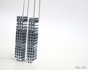 Black modern earrings Geometric earrings Dangle earrings Black and white dangle earrings Modern dangle earrings Contemporary jewelry