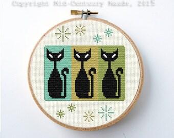 Retro Cats Cross Stitch Pattern Atomic Era Mid Century Modern PDF Digital Needlepoint Instant Download