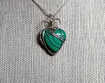 Green Malachite with Sterling Silver wrapping