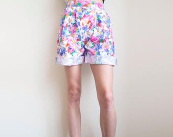 Floral Mom Shorts, Flower Power Vintage Print in Pink and White