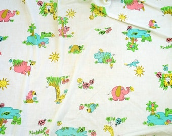 REDUCED Vintage 1960s Childs Twin Size Sheet Set - 2 Fitted Sheets, 1 Flat Sheet / Kitschy Cute Retro Animal Illustrations Repurpose