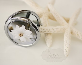 """Photo Mirror Compact- """"Star Magnolia"""", White Magnolia Photograph, 3"""" Double Sided Mirror- Engravable Gift Item"""