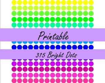 Bright Dot Stickers | Erin Condren Life Planner | MAMBI Happy Planner | Printable Planner Stickers | Instant Download