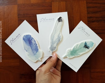 30 PCS, FEATHER sticky notes, Feather post its, Bird sticky notes, Parrot sticky notes, Feathers, SO