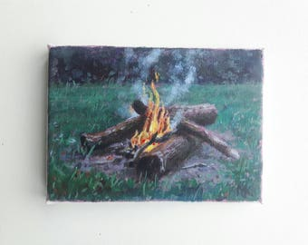 original campfire painting, mountain painting, small painting, wanderlust painting, 5x7 painting, acrylics on canvas, boho art