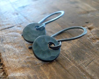 Essential Earrings Small Round - Handmade. Oxidized fine and sterling silver dangle earrings