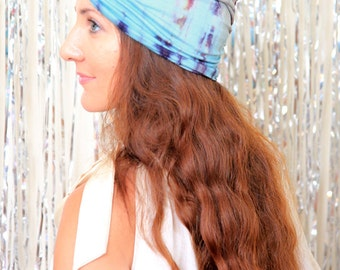 Women's Turban in Tie Dye - Blue and Brown - Bohemian Fashion Hair Wrap
