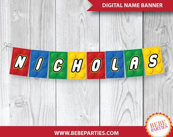 "DIGITAL Lego Building Blocks Banner | Your Name | 5"" x 7.5"" Rectangles 