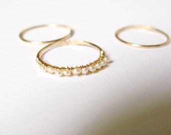 Thin band ring- Tiny cultured pearl gold filled stacking rings- pearl eternity band gold filled thin rings-set of 3 or buy only one