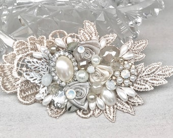 Champagne Bridal Comb- Champagne Hair Accessory- Champagne Hairpiece- Wedding Hair Comb- Champagne Bridal Clip- Bridal Hairpiece-Bridal Comb